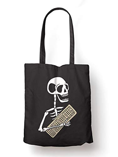 BLAK TEE Funny Halloween Skeleton Keyboard Organic Cotton Reusable Shopping Bag Black