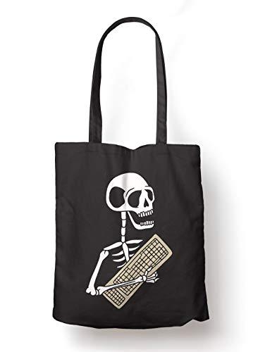 BLAK TEE Funny Halloween Skeleton Keyboard Organic Cotton Reusable Shopping Bag Black