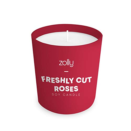 Zolly Freshly Cut Roses Mini Candle, 40g, Gifts for Her, Scented Candle, 15 Hours Burn Time