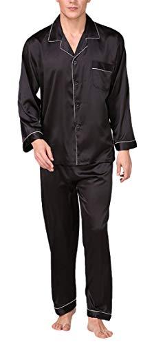 INSTO Los Hombres de Los Pantalones de Ropa de Dormir de Primavera Y Verano de Manga Larga Solapa de Transpirable Conjunto de Pijama de Seda Suave de Homewear de Pija
