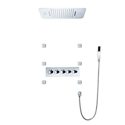 BILLY'S HOME Sistema de Ducha del LED, la Temperatura Constante de Techo Conjunto de Ducha, Sistema de Control Inteligente de la música de Bluetooth Ducha de Lluvia de 580 × 380 mm,B