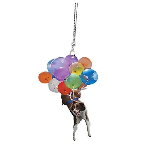 MARIJEE Lindo perro con colorido globo colgante adornos, decoración del hogar, colgantes para ropa, mochila, bolsos, coche