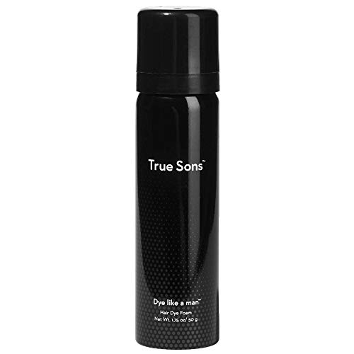 True Sons Hair Dye for Men - Subtle Gray Coverage for Hair (True Black) - Complete Hair Dye Kit with Original Foam for Natural Look - Mustache and Beard Hair Dye (1.75 oz) 4-6 Applications