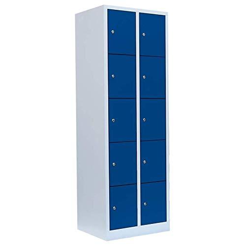 Schließfachschrank Wertfachschrank Fächerschrank Spind Umkleideschrank 10 Fächer-Spint 520521 blau Maße:1800 x 600 x 500 mm kompl. montiert und verschweißt