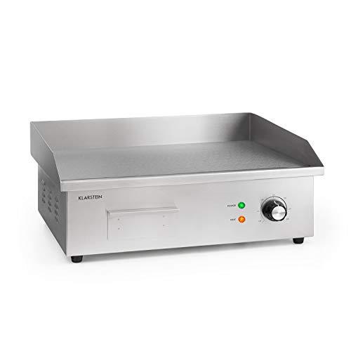 Klarstein Grillmeile 3000G Pro plaque de gril électrique en fonte : surface du gril: 54,5x35 cm, 50-300 °C, 3000 W, gril électrique professionnel avec pare-éclaboussures et bac à graisse, inox