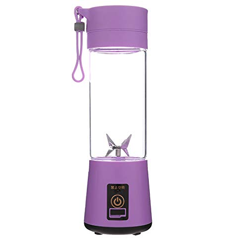 Personal Blender, Portable Juicer Cup/Electric Fruit Mixer/USB Juice Blender, Rechargeable, Six Blades in 3D for Superb Mixing, 380mL Green,Purple