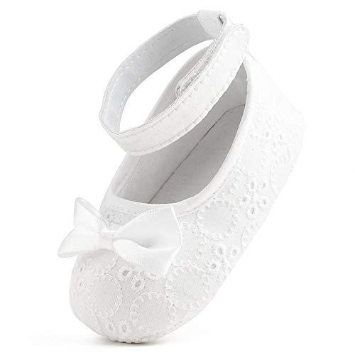 Delebao Baby Girl Infant Satin Mary Jane White Shoes Dance Ballerina Slippers (3-6 Months, White & Socks)