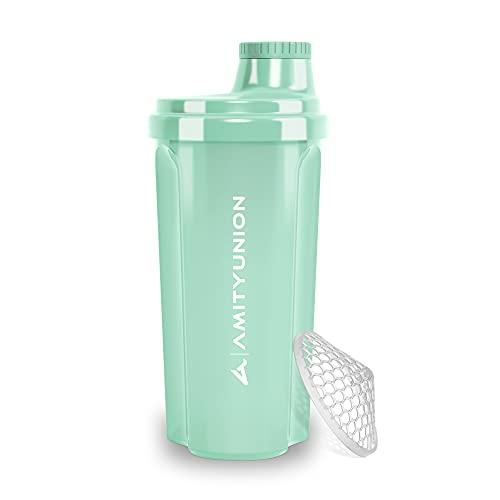 Shaker per proteine 500 ml 'Heaven' a prova di perdite, senza BPA con setaccio cliccabile e scala per frullati cremosi di siero di latte, shaker per proteine, originale in Blu menta