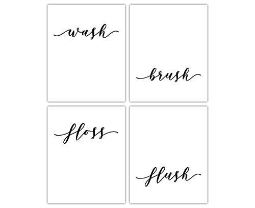 Wash Brush Floss Flush Bathroom Signs Typography Wall Art: Set of 4 Unframed 8x10, Bathroom Pictures Wall Decor Prints - Housewarming Gift Idea for Bathroom Artwork For Wall