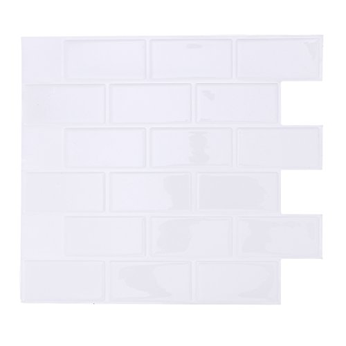 VORCOOL Selbstklebende Wandfliese abnehmbare Wasserdichte Schale und Stick Backsplash für Küche 28.6x25.5CM (weiß)