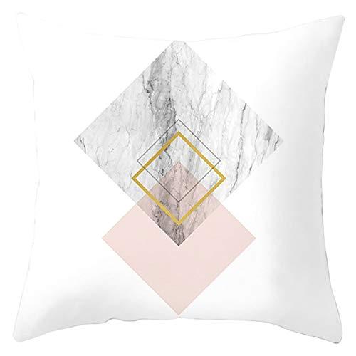 KnBoB Funda Almohada Patrón de Mármol Cuadrado Blanco Rosa Gris Poliéster 50 x 50 cm Estilo 34