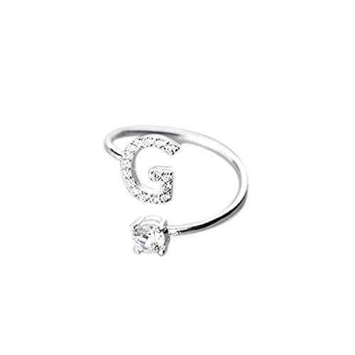 UINGKID Schmuck Damen Ring Modische und einfache Öffnung 26 Buchstaben mit Diamant Ring Damen Schmuck