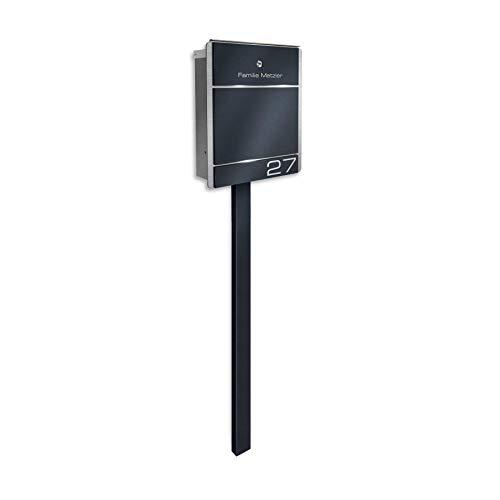 Metzler Standbriefkasten aus Edelstahl - Anthrazit RAL 7016, Eisenglimmer DB 703 / Weiß/Edelstahl - inkl. Briefkasten-Ständer & Gravur - Farbe wählbar - Größe: 33 x 38,5 x 11 cm