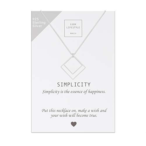 LUUK LIFESTYLE Collar de Plata esterlina 925 con Colgante Cuadrado de geometría...