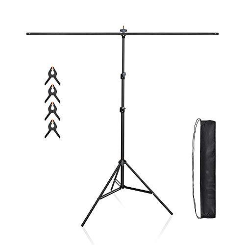 UTEBIT T-Form Hintergrund Ständer 1.5x2M / 5x6.5 Füße Backdrop Stand Verstellbarer Stativständer 70-200CM Hochwertiger Stahl Fotoständer mit 4 Stück Klemmzwingen für Hintergrundtuch,Papier und Canvas
