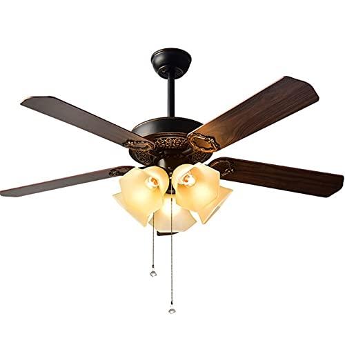 Ventilador de techo de bronce de aceite interior de 52 pulgadas LED con kit de luz, ventilador de techo de 5 luces con cuchillas reversibles y cadenas de extracción para sala de estar, dormito
