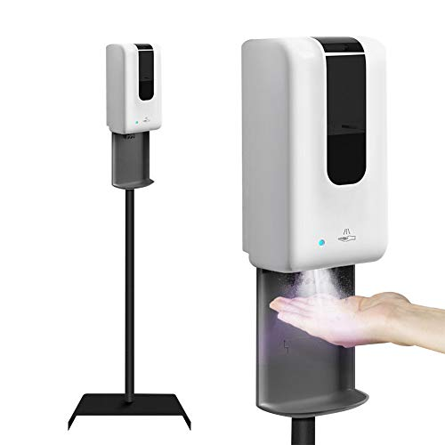 TZUTOGETHER Dispensador automático de desinfectante Manos con Soporte,1200ml Desinfectante de Manos sin Contacto,Dispensador de Alcohol en Gel,Soporte de Suelo para Zona pública(Dispensador+Soporte)