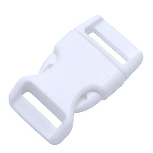 Confezione da 15 fibbie a scatto in plastica, a sgancio rapido, per braccialetti in paracord/collari per animali domestici, 15 mm bianco