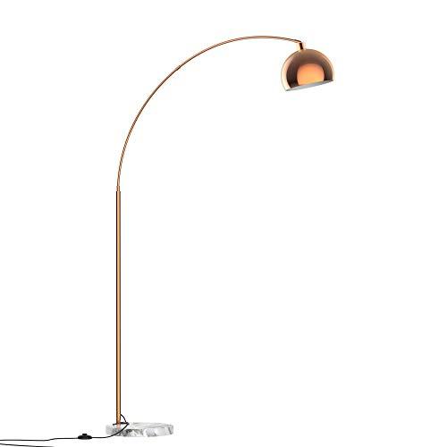 homcom Lampada da Terra ad Arco con Paralume Regolabile in Acciaio e Base Rotonda in Marmo, Color Rame, 31x120x205cm