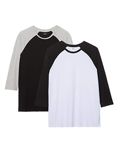 Marca Amazon - find. Camiseta con Manga Ranglan Hombre, Pack de 2, Multicolor (Black/ White), 3XL, Label: 3XL