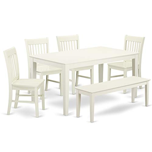 East West Furniture CANO6-LWH-W Wooden Dining Table Set 6 Piece - Wooden Dining Room Chairs Seat - Linen White Finish Small Rectangular Table and Kitchen Dining Bench