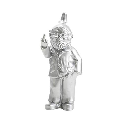 """Ottmar Horl - Gnome Sculpture Decor - Flipping Middle Finger - Outdoor or Indoor Naughty Art Statue - Molded Plastic - Large 14.57"""" x 6.69"""" x 3.94"""" inches - Made in Germany (Silver)"""