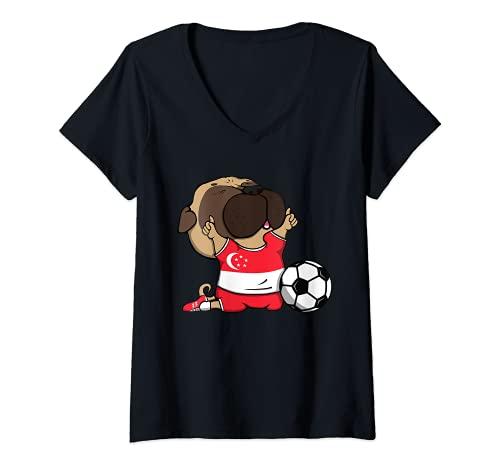 Mujer Pug Singapur Ftbol Fans Jersey Singapur Los amantes del ftbol Camiseta Cuello V