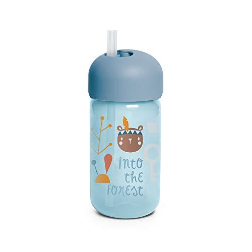SUAVINEX Vaso Entrenamiento Bebé Con Pajita Flexible, Con Sistema Antiderrame, Para Bebés +18 Meses, Apto Para Lavavajillas, Color Azul, 340ml