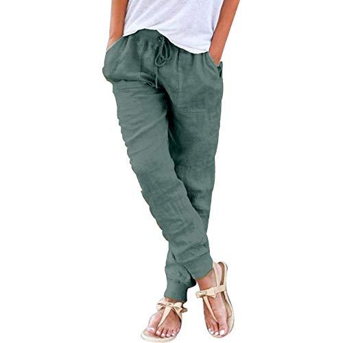 Shujin Pantalones de verano para mujer, de algodón y lino, 7/8 de longitud, bombachos, de color liso, ligeros, elásticos, cómodos, para la playa o el tiempo libre., A verde militar., XXL