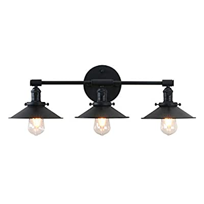 Permo Vintage Industrial Antique Three-Light Wall Sconces Lighting with Black Metal Shade (Black)
