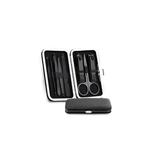 Manucure Kits en acier inoxydable Black Nail Clippers manucure outil de pédicure portable avec bouton de verrouillage pour l'homme 8 pièces, noir