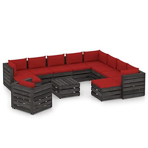 vidaXL Madera Impregnada Muebles de Jardín 12 Piezas con Cojines Mobiliario Exterior Terraza Balcón Hogar Cocina Mesa Silla Asiento Gris