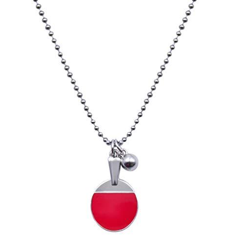 VALICLUD Sportliche Halskette Stahl Tisch Tennis Bat Anhänger Neck Halsband Ring Kreative Pullover Kette Schmuck Geschenk Für Sportler Sport Liebhaber Geschenk
