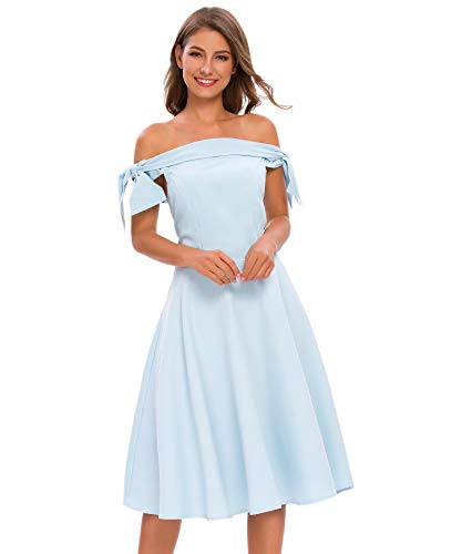 Bright Deer Women's Vintage Off Shoulder Bardot Bow Midi Prom Dress Bridesmaid Wedding Guest Cocktail Evening Party Special Formal Occasion Wear 10 L Blue
