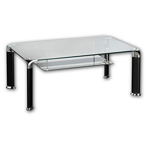 Stella Trading ALBERTO Couchtisch Glas mit schwarzem Metallgestell - geräumiger Glastisch mit Ablage für Ihren Wohnbereich - 100 x 42 x 60 cm (B/H/T)