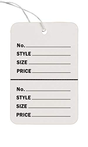 """Large Strung White Perforated Coupon Price Tags - 1 3/4""""W x 2 7/8""""H - Pack of 1000"""