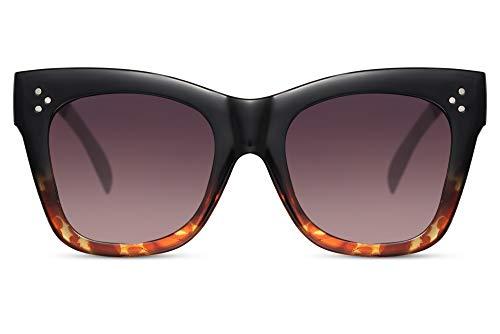 Cheapass Sonnenbrille Frauen' Designer Style Schwarz bis Leopard breiter Rahmen mit Farbverlauf Linsen und Nieten