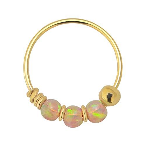14K Gelb Gold dreifach Pink Opal Perle 22 Gauge Hoop Nasenring Nase Piercing