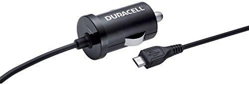 Duracell Kfz 12 V/24 V oplader voor mobiele telefoon met micro-USB naar USB-kabel, 1 A oplader met kabel, zwart