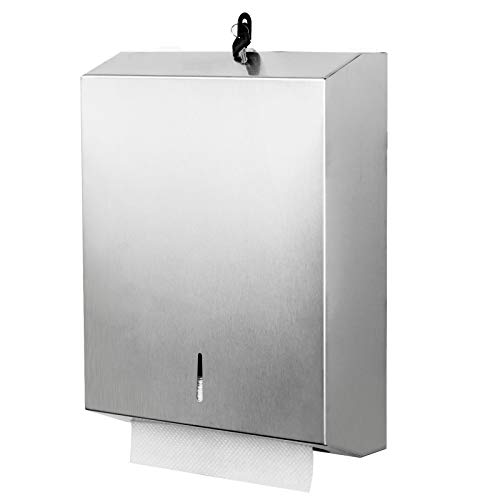 Paper Towel Dispenser Wall Mount Commercial c-fold/Multi-fold/Tri-fold, Touchless Hand Towel Dispenser with Lock