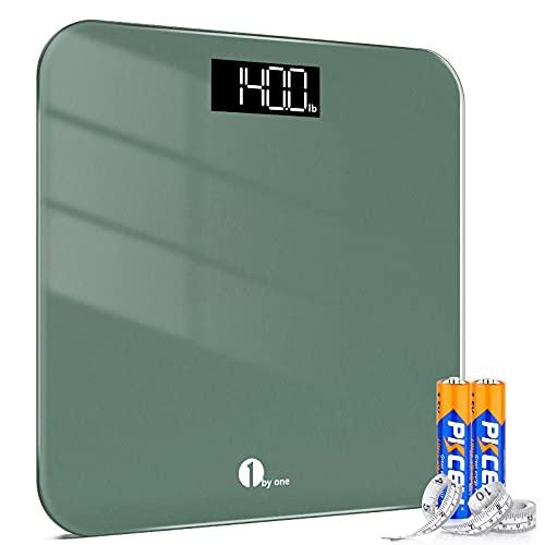 1byone Peso digital Bascula de peso baño Básculas de pesaje de alta precisión con tecnología Step-On,Pantalla LED (Stone / kg / lb),Cinta métrica y pilas incluidas,180 kg / 400 lb, verde medianoche