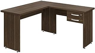 Mesa para Escritório em L 2 Gavetas 136cmx143cm Top Plata Móveis Affara