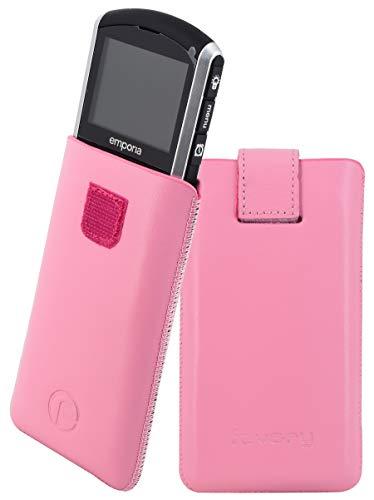 Original Favory Etui Tasche für / Emporia PURE / Leder Etui Handytasche Ledertasche Schutzhülle Hülle Hülle Lasche mit Rückzugfunktion* in rosa