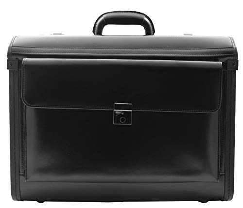 Leather Pilot Case Without Wheels Doctors Briefcase Organiser Carry Case Beesands Black