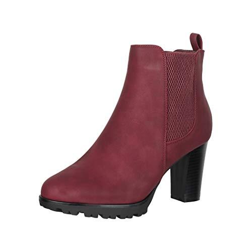 Elara Damen Stiefeletten Chelsea Boots Weinrot Chunkyrayan KL0160 Wine-38