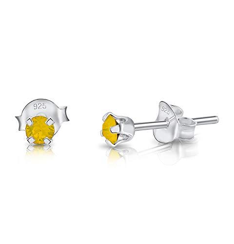 DTPsilver - Molto PICCOLI Orecchini a Perno - Argento 925 con Cristalli Swarovski® Elements Rotondi - Diametro 3 mm - Colore: Opale Giallo