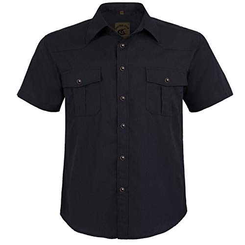 Coevals Club Men's Western Button Down Cowboy Short Sleeve Casual Shirt with Pearl Snap (Black #4, XL)