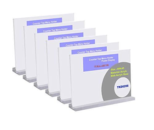 TUKA 6 Pezzi A5 Espositore da Tavolo, T Forma Doppio Acrilico Porta-avvisi da Tavolo con Base Acrilica, Supporto Pubblicitario da Banco, per Menù Carta Promozioni Altro. A5 Orizzontale TKD8206-A5-6x