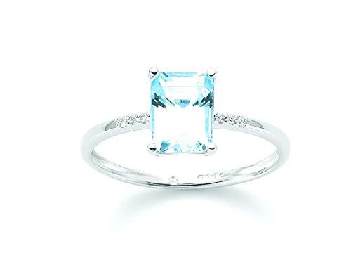 Miluna Anello Oro Bianco diamanti e topazio Gemma del Cielo LID3287X