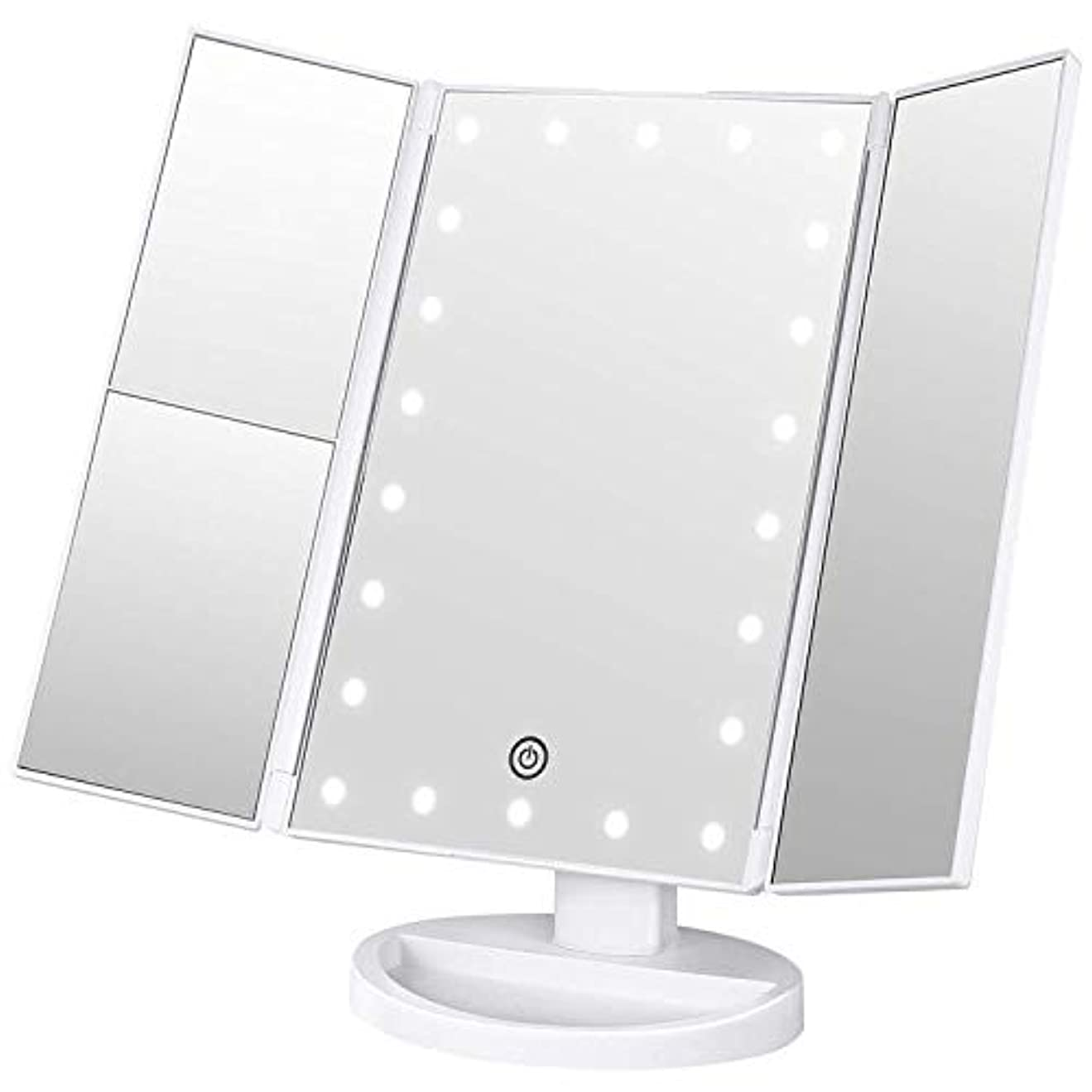 コインランドリー国民投票過度に化粧鏡 VIYONA 鏡 卓上 LEDライト22灯三面鏡 電池&USB 折りたたみ 拡大鏡 2&3倍 明るさ調節可能 180°